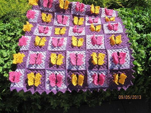 Текстиль, ковры ручной работы. Ярмарка Мастеров - ручная работа. Купить Детский плед ,,Бабочки,,. Handmade. Фиолетовый, подарок малышу