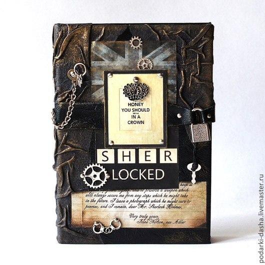 """Ежедневники ручной работы. Ярмарка Мастеров - ручная работа. Купить Ежедневник кожаный  на замке """"Шерлок Холмс"""". Handmade. Черный"""