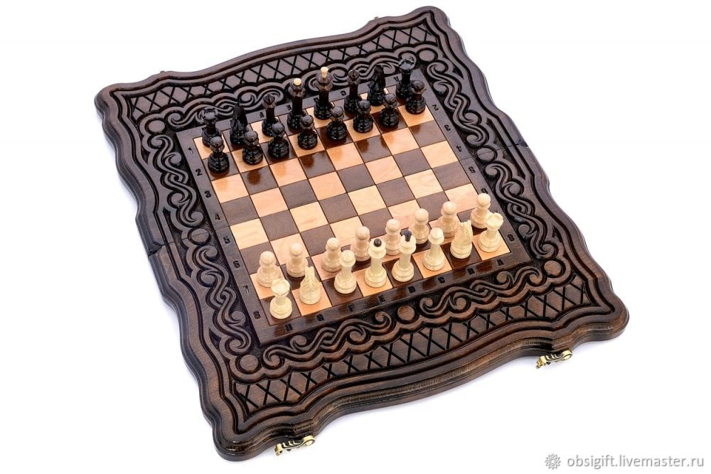 Backgammon chess carved 'breeze' 40, Harutyunyan, Backgammon and checkers, St. Petersburg,  Фото №1