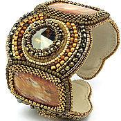 Украшения ручной работы. Ярмарка Мастеров - ручная работа Браслет вышитый бисером с кристаллами и камнями, бронзовый (0336). Handmade.