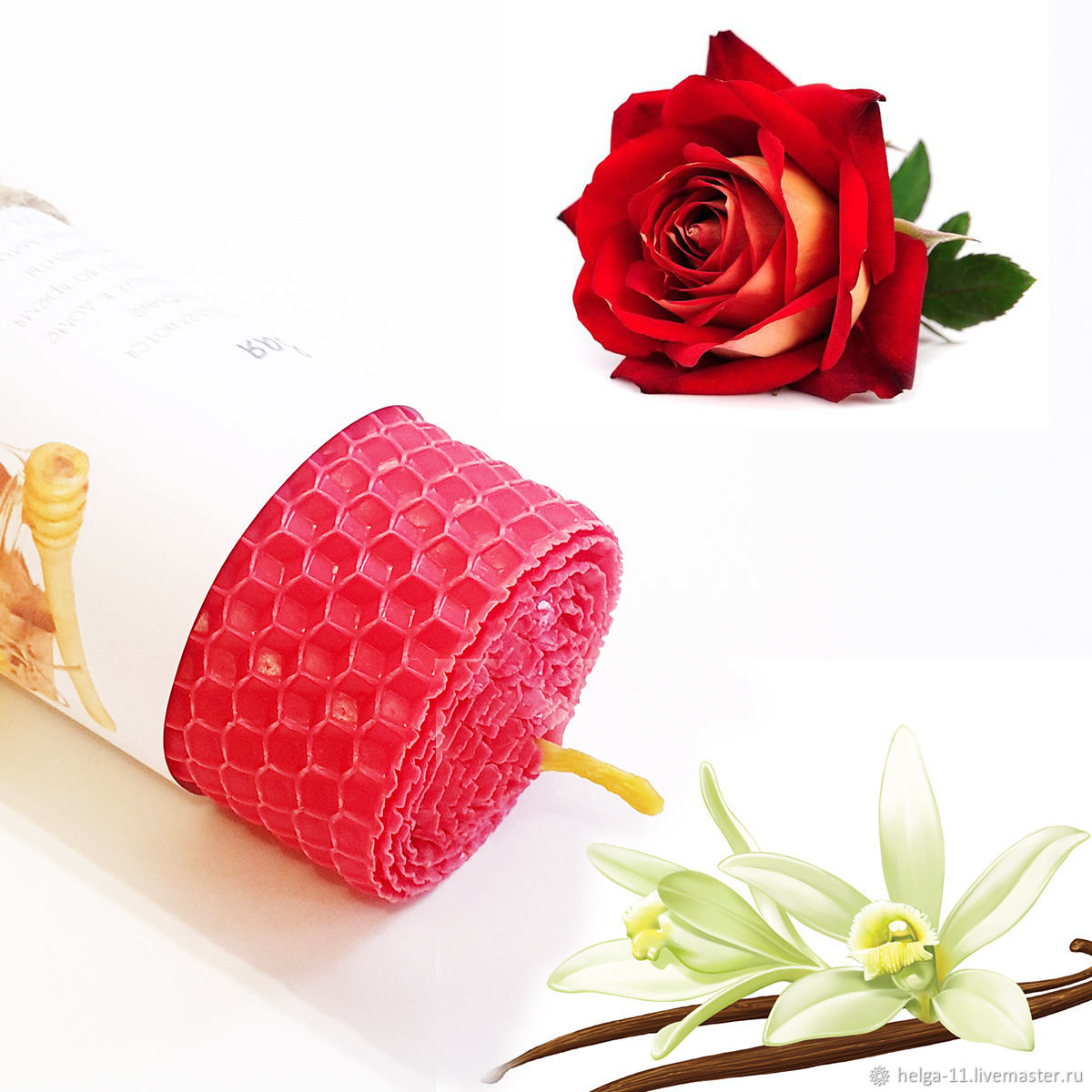 Honey Candle-Red with rose and vanilla 13h4,7.  cm, Candles, St. Petersburg,  Фото №1