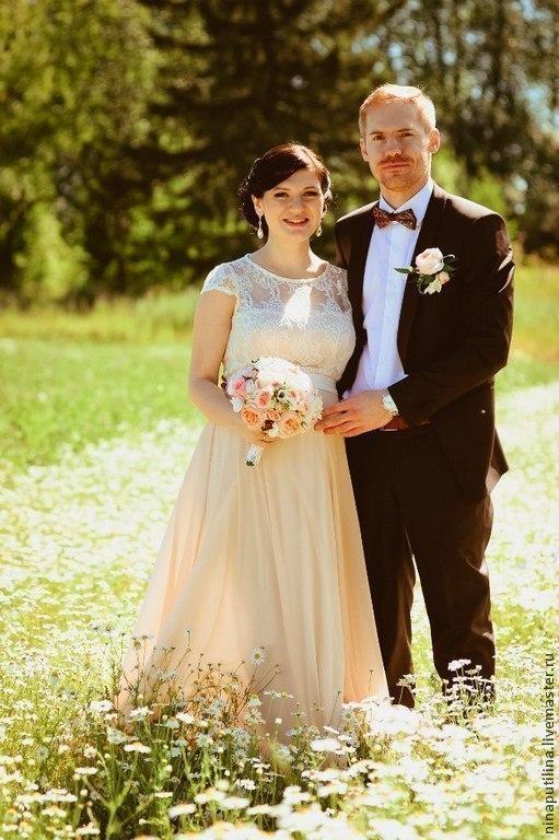 Одежда и аксессуары ручной работы. Ярмарка Мастеров - ручная работа. Купить Свадебное платье для Марии. Handmade. Кремовый, платье для беременной