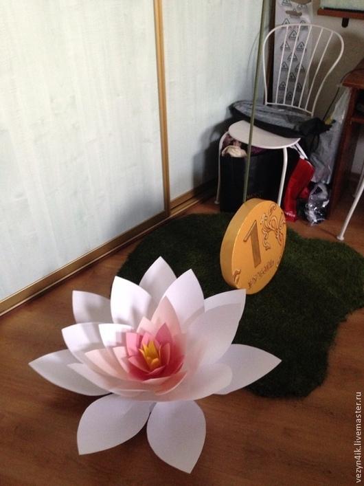 Праздничная атрибутика ручной работы. Ярмарка Мастеров - ручная работа. Купить Цветок лотоса из бумаги. Handmade. Бледно-розовый, кувшинка