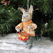 Сувениры и подарки handmade. Livemaster - original item Cotton Christmas tree toy hare-drummer. Handmade.
