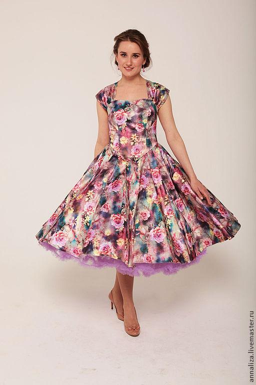 """Платья ручной работы. Ярмарка Мастеров - ручная работа. Купить Ретро платье в стиле 50-х """"Цветочная поляна"""" LUX 2. Handmade."""