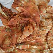 """Аксессуары ручной работы. Ярмарка Мастеров - ручная работа Шелковый жатый платок """"Опавшая листва"""". Handmade."""