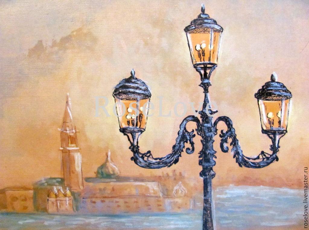 Рисунок фонарей в городе