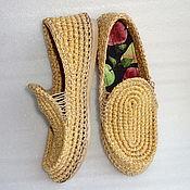 Мокасины ручной работы. Ярмарка Мастеров - ручная работа Мокасины вязаные, бежевый хлопок. Handmade.