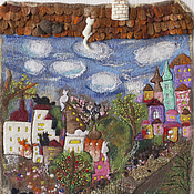 """Картины и панно ручной работы. Ярмарка Мастеров - ручная работа Панно """"Город влюбленных"""". Handmade."""