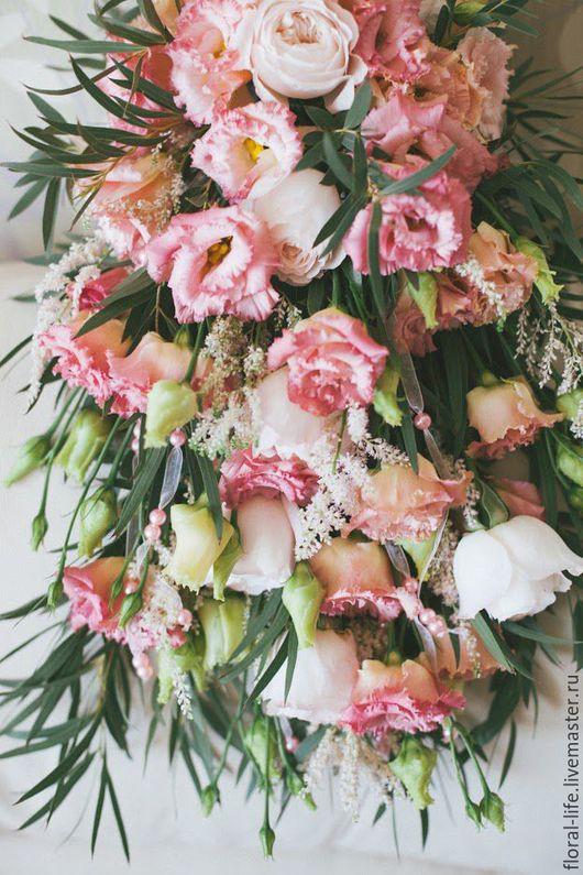 Свадебные цветы ручной работы. Ярмарка Мастеров - ручная работа. Купить Розовый водопад. Handmade. Комбинированный, букет водопад, эустома