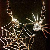 "Earrings handmade. Livemaster - original item Earring silver ""Spiderweb"". Handmade."