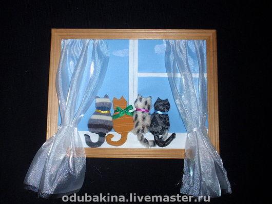 """Животные ручной работы. Ярмарка Мастеров - ручная работа. Купить Панно """"Любопытные коты"""". Handmade. Картины панно, кот"""