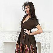 Одежда ручной работы. Ярмарка Мастеров - ручная работа платье из купонной ткани.шоколадный фон. Handmade.