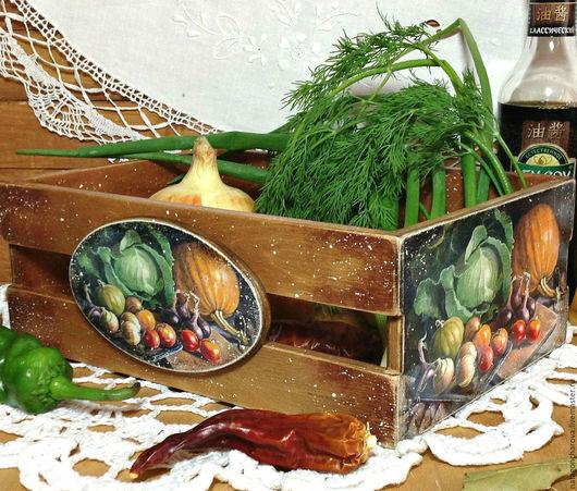 """Корзины, коробы ручной работы. Ярмарка Мастеров - ручная работа. Купить ящичек для овощей """"Урожай"""". Handmade. Коричневый, подарок"""