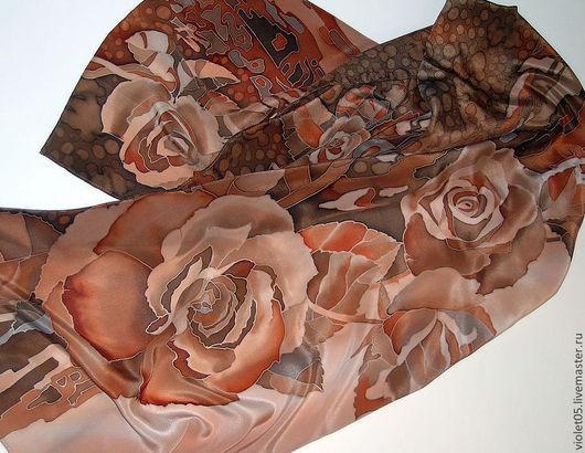 Шали, палантины ручной работы. Ярмарка Мастеров - ручная работа. Купить 'Кофейные розы' Палантин или панно батик. Handmade.