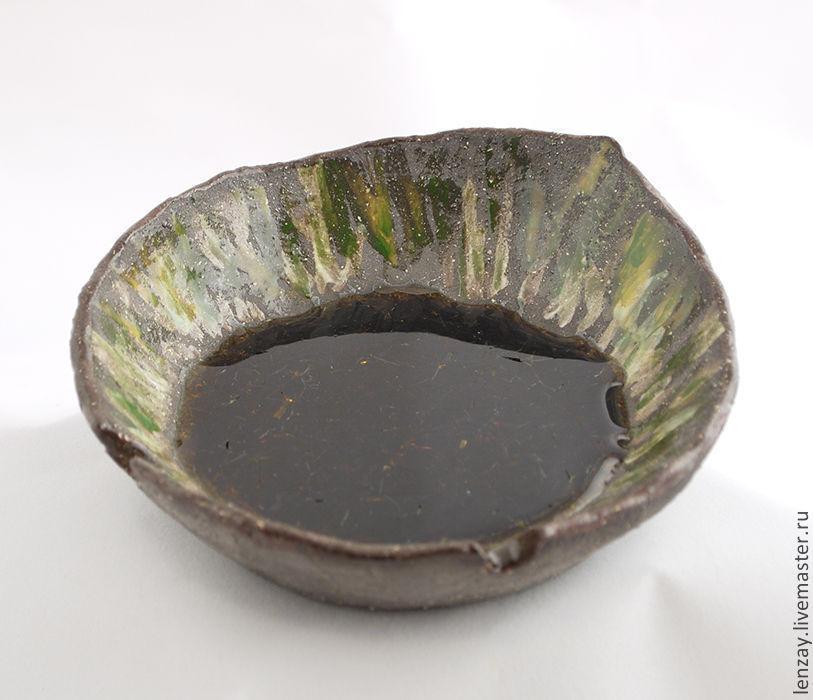 Ashtray `Peat lake`. Ceramics, bottle glass. Ceramics Elena Zaichenko