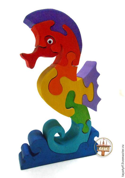Развивающие игрушки ручной работы. Ярмарка Мастеров - ручная работа. Купить Морской конек деревянный паззл. Handmade. Морской конек