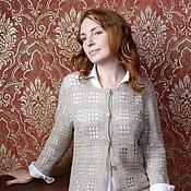 Одежда ручной работы. Ярмарка Мастеров - ручная работа Жакет кашемир+шелк (2) ажурная клеточка. Handmade.