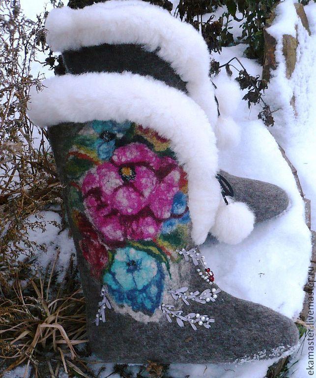 Boots . Boots for women street 'Russian porcelain', Felt boots, Ekaterinburg,  Фото №1