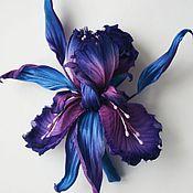 """Украшения ручной работы. Ярмарка Мастеров - ручная работа Ирис """"Splash"""". Цветы из шелка, цветы из ткани, ирис брошь.. Handmade."""