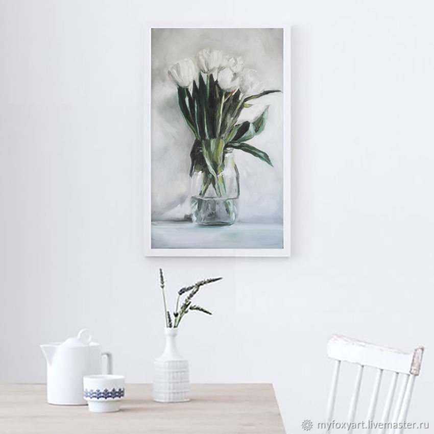 White tulips, oil painting on canvas, tulips in glass vase, Pictures, St. Petersburg,  Фото №1