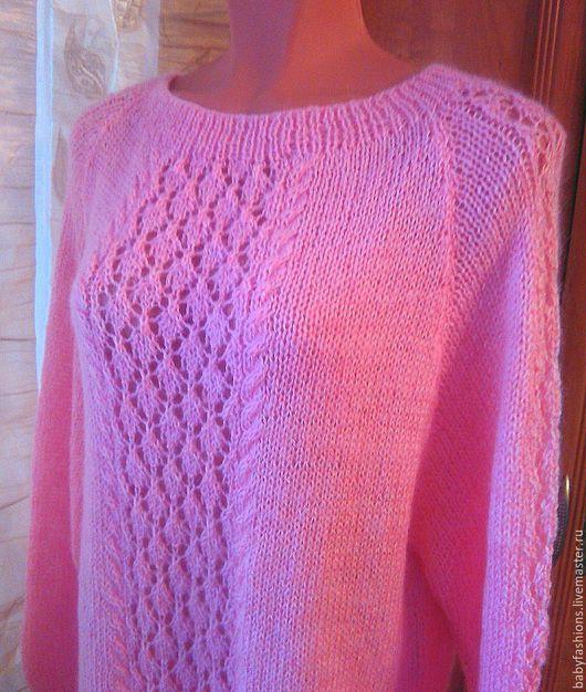 Кофты и свитера ручной работы. Ярмарка Мастеров - ручная работа. Купить Розовый мохеровый удлинённый пуловер.. Handmade. Бледно-розовый