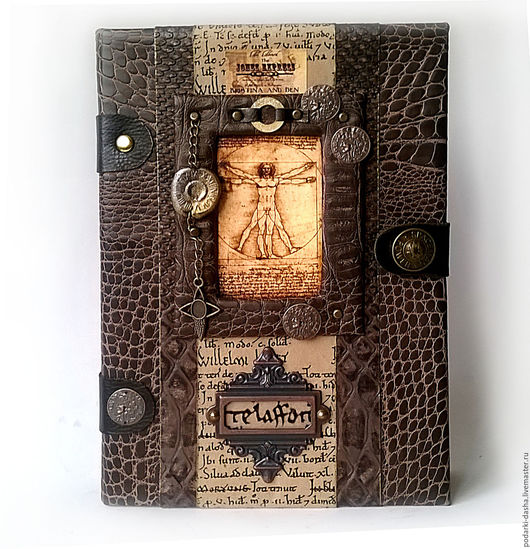 """Подарки для мужчин, ручной работы. Ярмарка Мастеров - ручная работа. Купить Ежедневник кожаный """"Леонардо"""". Handmade. Коричневый, ежедневники, кожа"""