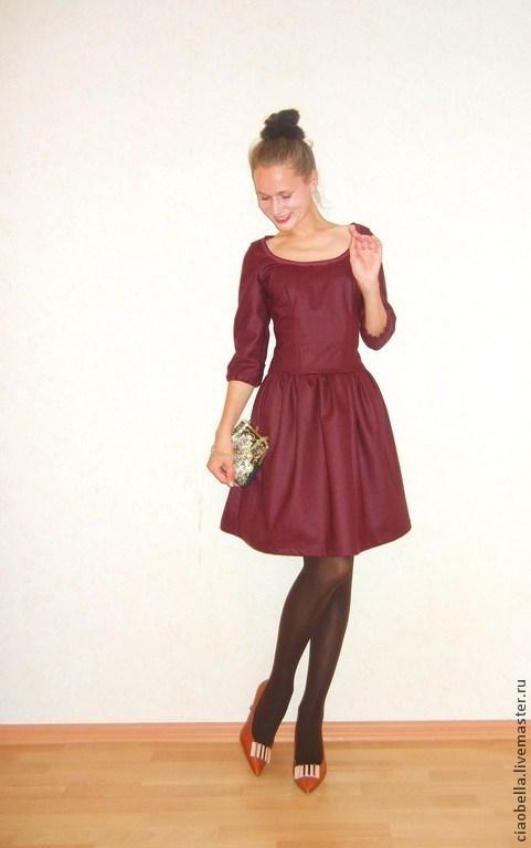 """Платья ручной работы. Ярмарка Мастеров - ручная работа. Купить Платье """"Miranda"""", шерсть. Handmade. Бордовый, платье на заказ"""