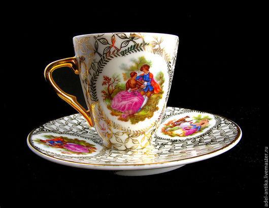 Винтажная посуда. Ярмарка Мастеров - ручная работа. Купить Кофейная чашка с блюдцем. Лимож.. Handmade. Разноцветный, старинный фарфор, фарфор