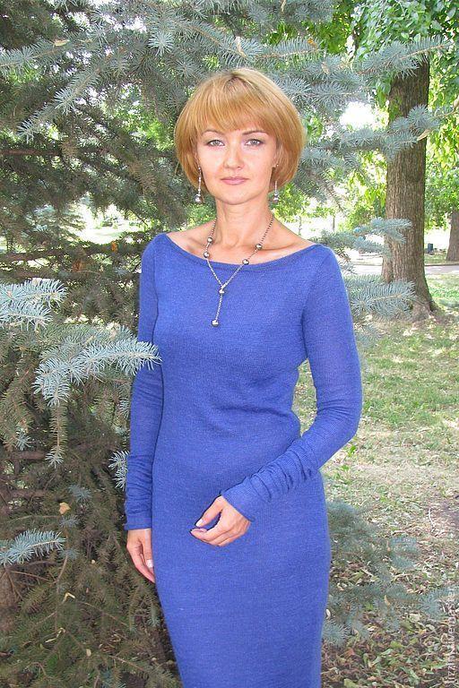 """Платья ручной работы. Ярмарка Мастеров - ручная работа. Купить Вязаное платье """"Лия"""". Handmade. Синий, платье коктейльное"""