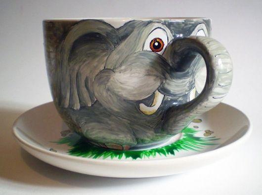 """Сервизы, чайные пары ручной работы. Ярмарка Мастеров - ручная работа. Купить Чашка """"Слоненок"""". Handmade. Слон"""