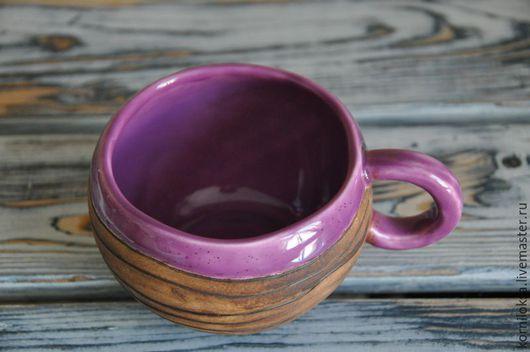 Кружки и чашки ручной работы. Ярмарка Мастеров - ручная работа. Купить Фиолетовая чашка. Handmade. Тёмно-фиолетовый, Керамика