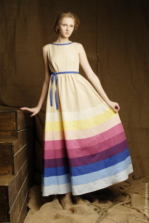 Платье ярусное в пол бежевое, бохо платье летнее длинное льняное в полоску на каждый день, длина макси, платье нарядное на выпускной