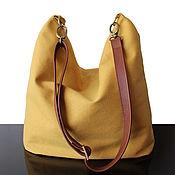 Сумки и аксессуары handmade. Livemaster - original item Bag: Mustard canvas and genuine leather bag. Handmade.