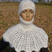 Аксессуары handmade. Livemaster - original item Dickey downy white knit white 100% feather yarn. Handmade.