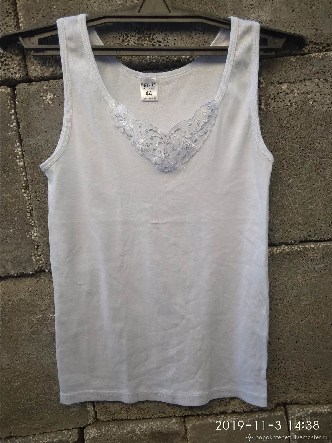 White t-shirt with lace, ,100% cotton,, Vintage clothing, Novorossiysk,  Фото №1