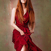 Одежда handmade. Livemaster - original item Red dress , long with the smell of