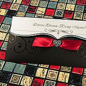 """Свадебный салон ручной работы. Ярмарка Мастеров - ручная работа Приглашение """"В самое сердце"""" Чёрно - красные.. Handmade."""