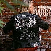 Одежда handmade. Livemaster - original item Painting of a leather jacket Venus with wings. Biker jacket with print. Handmade.
