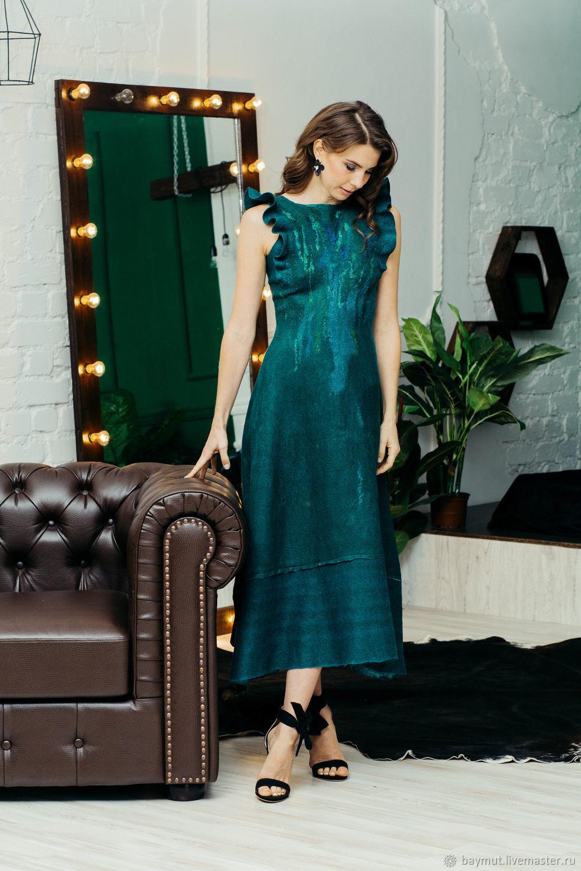Emerald felted ruffle dress. MIDI dress, Dresses, Lugansk,  Фото №1