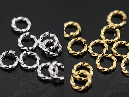 Витые разъемные колечки из латуни с глянцевой позолотой и родиевым покрытием, 5 мм. Фурнитура из Южной Кореи.