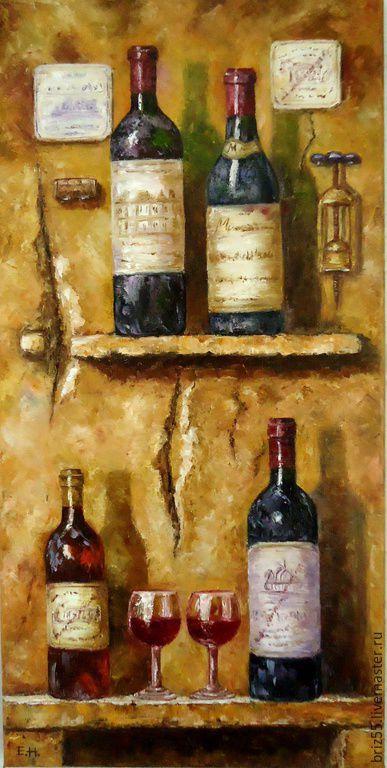 Натюрморт ручной работы. Ярмарка Мастеров - ручная работа. Купить Картина маслом Коллекционные вина. Handmade. Картина, бутылки, вино
