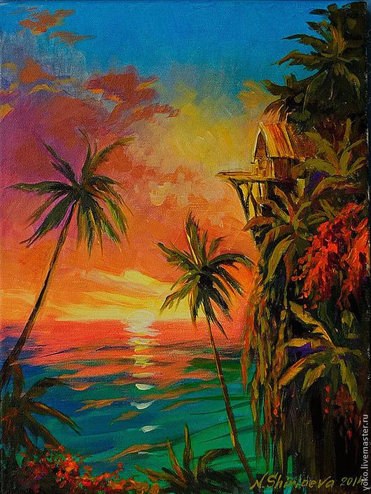 """Пейзаж ручной работы. Ярмарка Мастеров - ручная работа. Купить """"Провожая закат"""" картина маслом на холсте. Handmade. Рыжий"""