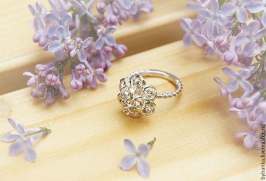 """Кольца ручной работы. Ярмарка Мастеров - ручная работа. Купить Кольцо  """"Букет роз"""". Handmade. Серебряные украшения, серебряное кольцо"""