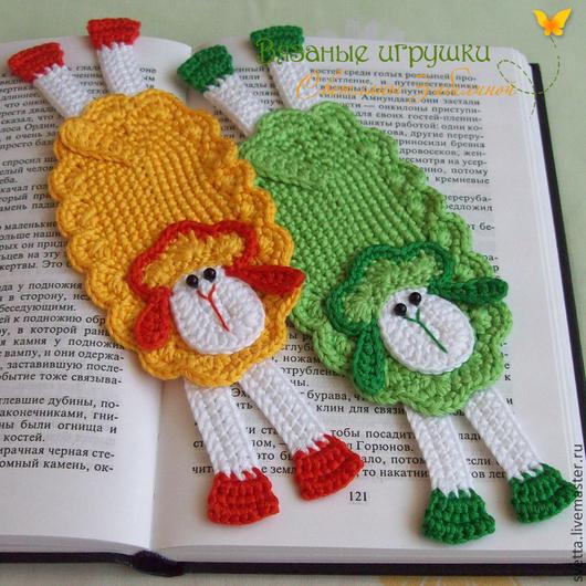 """Закладки для книг ручной работы. Ярмарка Мастеров - ручная работа. Купить """"Разноцветные овечки"""" вязаные закладки. Handmade. Закладка, учебник"""