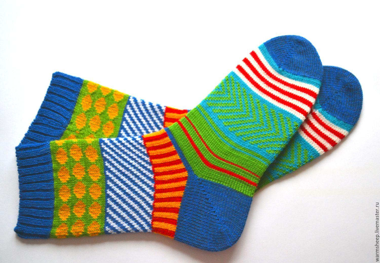 Яркие вязаные шерстяные носки в подарок мужские, женские ...