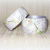 Украшения handmade. Livemaster - original item Purple bracelets from wood Orchid decoupage purple watercolor retro. Handmade.