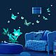 Детская ручной работы. Ярмарка Мастеров - ручная работа. Купить Светящиеся наклейки - Бабочки и цветы. Handmade. Белый, синий, светящиеся