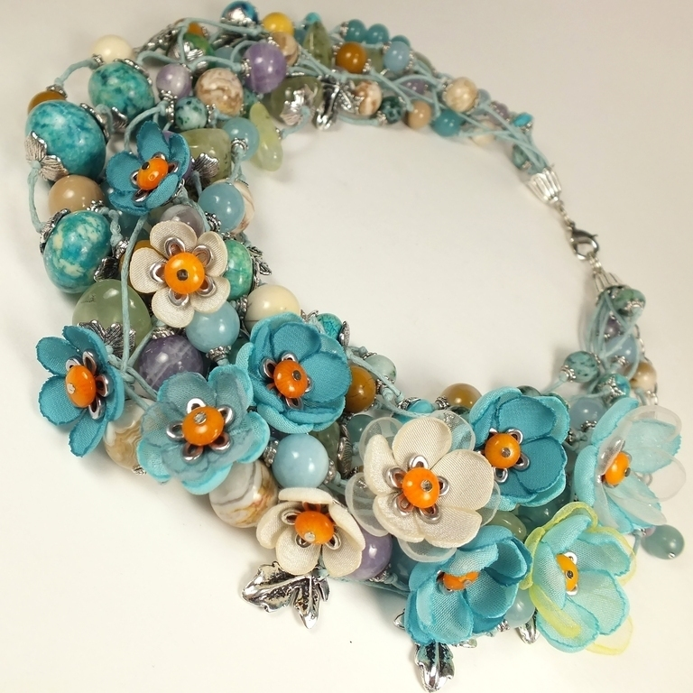 Heavenly Lilac Valley. Choker, removable floral decor, Necklace, St. Petersburg,  Фото №1