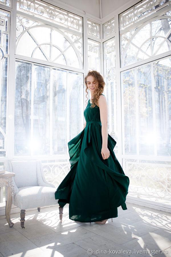 Платье Нимфа в изумрудном цвете, Платья, Санкт-Петербург,  Фото №1